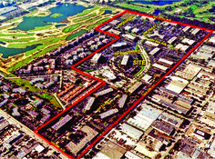 A view of Downtown Doral looking to the southwest. Codina Partners and Lennar agreed to acquire and develop the 130-acre (50 ha) Doral Great White Golf Course (top left) in 2016, bringing Downtown Doral to 250 acres (100 ha). (CR-Codina Partners)