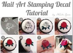 DIY nail decals using stamper and polish.