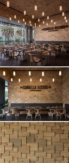 The walls of this modern restaurant are covered in wood shingles.
