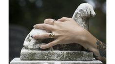 "14k Grip Handshake ring, ""P.e.t."" Memorial ring and Onyx Crown ring"