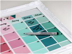 DIY calendar with paintchips