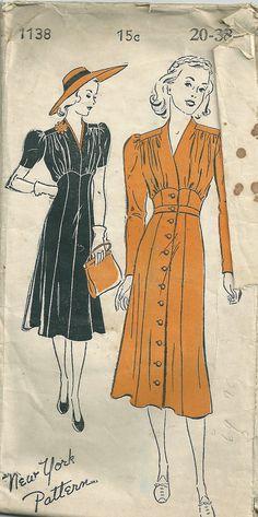 Gorgoeous 1930s Dress Vintage Repro Sewing Pattern.