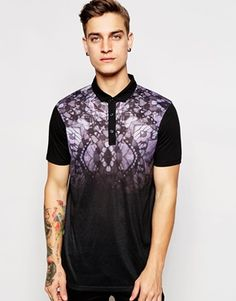 ASOS Polo Shirt With Butterfly Yoke Print
