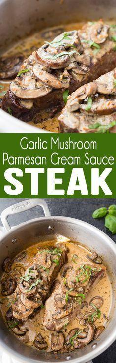 Garlic Parmesan Mushroom Cream Sauce on top of a delicious pan seared steak