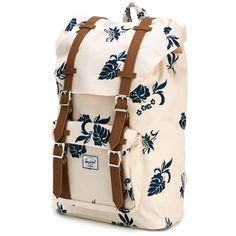 Herschel Supply Co. leaf print backpack ❤ liked on Polyvore featuring bags, backpacks, pink bag, leaf bags, day pack backpack, knapsack bag and herschel bags