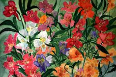 Peruvian Lily - Watercolour painting by Tjaša Kuerpick