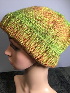 "Adult's Hand Knit Unisex Winter Slouch Cap, Fits Heads 18-22"" 9"" H, Variegated Orange/Green Yarn, Wool/Acrylic Blend, Fast Shipping Knitted Hats, Crochet Hats, Hand Knitting, Cap, Unisex, Wool, Orange, Winter, Fitness"