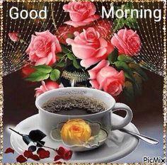 Animated Gif by Bobu Vasile Morning Coffee Images, Good Morning Coffee, Good Morning Images, Morning Rose, Good Morning Flowers, Good Morning My Friend, Good Morning Wishes, Morning Blessings, Coffee Gif