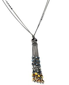 c.A.K.e. by Ali Khan Necklace, Hematite Tone Square Bead Tassel Drop Necklace - Fashion Necklaces - Jewelry & Watches - Macy's
