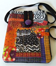 fabric collage cross body bag