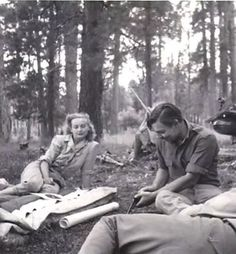 Carole and Clark on a camping trip.