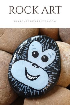 Excited to share the latest addition to my shop: Monkey face rock art, painted stone Acrylic Painting Trees, Stone Art Painting, Heart Painting, Pebble Painting, Pebble Art, Painted Garden Rocks, Painted Rocks Kids, Painted Pebbles, Rock Painting Patterns