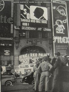 Times Square 1940s Soldiers Watch Billboards New York City Vintage