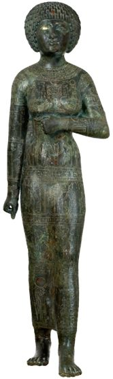 """According to the inscriptions that the statue bears, Priestess Takushet was the daughter of Akanuasa II, the Great Chief of the Libyan, Ma Tribe, during the Service of Nesi (Pharaoh) Piankhi, 25th Dynasty, Neo New Kingdom (750 BCE). Her name means """"the Kushite"""" and possibly refers to the Ma tribe's blood relation to Kush or marriage to a Kushite. Her office was of Priestess """"Waab"""" (Pure-Chaste Priestess), which according to the religious hierarchy was the lowest priestly title."""