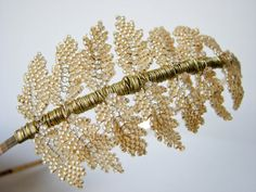 Beaded gold fern headband. $248.00, by Wire Lotus, via Etsy.