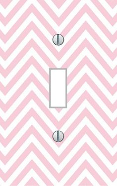 Light switch plate pink white chevron living room nursery modern decor USA made #switch504