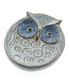 Take a look at this White & Blue Eyes Owl Large Plate on zulily today!