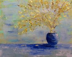 """""""Spring Has Sprung"""" by Karla Nolan, palette knife oil painting forsythia, painting by artist Karla Nolan"""