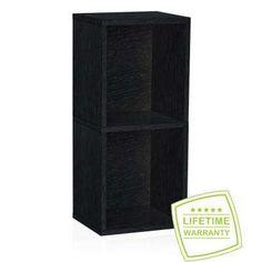 Deux 2-Shelf Narrow Bookcase Storage Shelf in Black Wood Grain