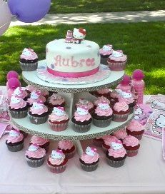 Hello Kitty Cake and matching Cupcakes By twilightzonejude on CakeCentral.com