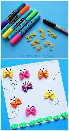 Con pajaritas de pasta, pintura de dedos y una cartulina, los niños pueden hacer de esa pasta mariposas o cualquier animal que se les ocurra. Se fomenta la imaginación, la creatividad a la hora de pintar y decorar la pasta, así como la motricidad fina al tener que manejar utensilios para pintar y decorar como puede ser un pincel. También fomentamos la concentración.