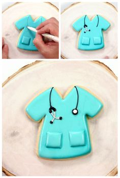 Healthcare works are worriers! They're working long hours and staying away from their families for us. Let's say thank you with simple nurse cookies. Sugar Cookie Royal Icing, Iced Sugar Cookies, Nurse Cookies, Cookie Decorating Party, Biscuits, Graduation Cookies, Cookie Tutorials, Holiday Cookies, Summer Cookies