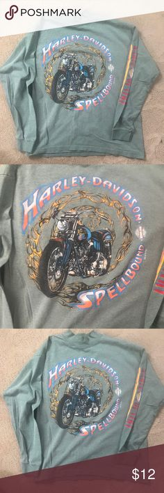 Harley-Davidson long sleeved shirt Tags inside were cut out, but I'm a medium and this fits me comfortably. My have been a men's small or medium.  Great condition. Gently worn. Harley-Davidson Tops Tees - Long Sleeve