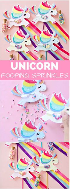 Magical Unicorn Pooping Sprinkles Paper Craft. Make these cute unicorn wands for your next unicorn or rainbow kids party!