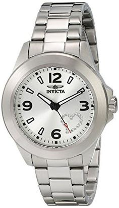 "Invicta Women's 17932 ""Angel"" Stainless Steel Watch with White Crystal Heart on Dial"