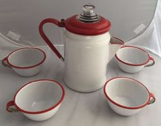 Vintage-Hamilton-Ross-Red-White-Enamelware-10-Coffee-Pot-Cups Enamel Ware, Red Kitchen, White Enamel, Hamilton, Tea Pots, Red And White, Cabinets, Coastal, Cups