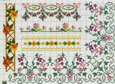 ru / Фото - A punto croce Speciale bordure - Los-ku-tik Cross Stitch Boarders, Cross Stitch Flowers, Cross Stitch Charts, Cross Stitch Designs, Cross Stitching, Cross Stitch Embroidery, Hand Embroidery, Cross Stitch Patterns, Embroidery Patterns Free