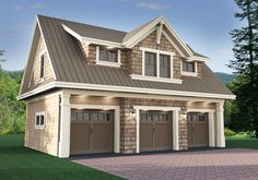 <ul><li>The main level of this shingle style garage apartment gives you parking for 3 cars behind 9'x8' doors. A man door on the right gives you access to your property.</li><li>The upper floor is a fully-functioning apartment complete with family room open to the kitchen, a bedroom suite with laundry and a large window seat looking out over the right.</li><li>An angled fireplace and seating at the kitchen are two nice touches in this tidy...