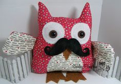 Stampin Up Fabric Owl with Mustache, By Shirley Pumpkin. Valentine fabric