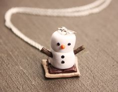 Marshmallow Snowman Smore Necklace by DebraMarieDesigns on Etsy, $15.95