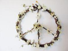 Peace Sign Wreath, Hippie Wreath, Floral Wreath, Summer Wreath, Peace, Spring Wreath, Grapevine Wreath, Daisy Wreath  Whimsical and fun, this very