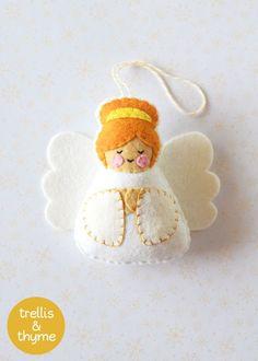 PDF Pattern Little Angel Felt Ornament Pattern Felt Softie Diy Christmas Angel Ornaments, Christmas Ornament Template, Nativity Ornaments, Ornament Crafts, Christmas Angels, Christmas Ideas, Christmas Tree, Softies, Felt Ornaments Patterns