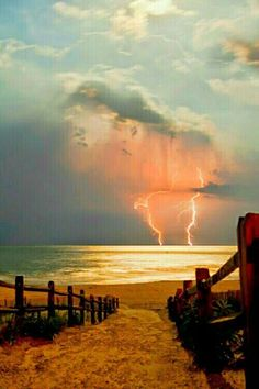 Lightning over the sea.