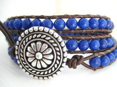 Going Sailing  Deep Blue Gemstone and Leather by JulieEllynDesigns, $48.00