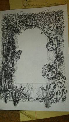 'Trees 'n' Things' photo border. Attempting cross-hatching on the tree. Artist - Griz Medium - ink over pencil sketch on paper