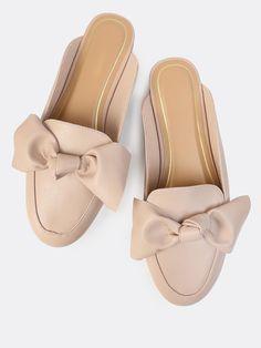 MakeMeChic - MAKEMECHIC Loafer Bow Slip Ons TAUPE - AdoreWe.com