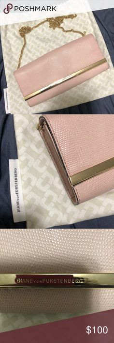 Light Pink and Gold Purse This purse is very elegant and it is the perfect accessory to may outfits! The details on it are carefully designed. It was worn once and it includes its dust bag! Diane Von Furstenberg Bags Clutches & Wristlets