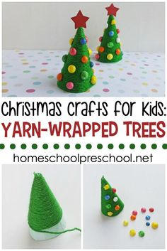 Are you looking for a fun preschool Christmas craft to do for the holidays? Let your little ones make a yarn-wrapped tree to decorate your home this season. Preschool Christmas Activities, Advent Activities, Preschool Crafts, Christmas Ornament Crafts, Christmas Crafts For Kids, Christmas Countdown, Christmas Trees, Crafts For Kids To Make, Outdoor Christmas Decorations