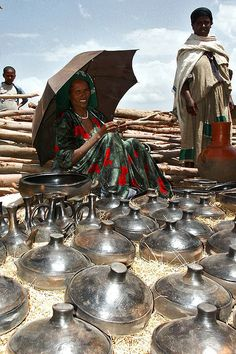 Traditional Ethiopian dishes in the market