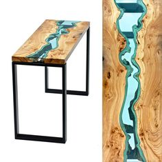 """""""a-river-runs-through"""" living edge tables w/hand-cut tinted blue glass rabbited in between two pieces"""