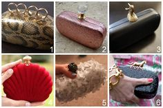 Six DIY Tutorials for Minaudieres or Clutches Made From Sunglass Cases or Snap Shut Jewelry Boxes. Perfect for prom, parties, etc… A few that I've posted: DIY Alexander McQueen Inspired Knuckle Clutch (Stylehive) here. DIY Rose Gold Glitter Minaudiere (Stripes + Sequins) here. DIY Minaudiere or Mini Clutch (Honestly…WTF) here. DIY Jewelry Box Clutch (Chic Steals) here. DIY Inspired Alexander McQueen Lace Minaudiere (Make Me Sparkly) here. DIY Kentucky Derby Minaudiere (Trinkets