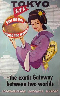 SAS - Tokyo Airline poster, Artist: Lannerback
