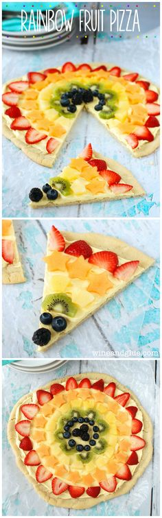 Rainbow Fruit Pizza | This is so easy, but it is so yummy and pretty!