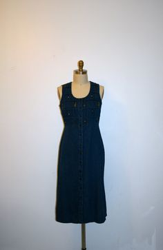 denim maxi dress flower embroidery garden by nightowlvintageshop, $35.00