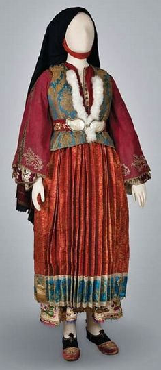 Traditional festive costume from the island of Skyros. Greek, ca. Historical Costume, Historical Clothing, Female Clothing, Greek Traditional Dress, Traditional Outfits, Period Costumes, Greek Costumes, Greek Dress, Greek Royalty