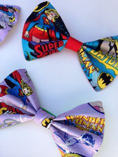 Superhero Party Favors - 6 per set - Unisex (Hairbows for Girls, Bowties for Boys) - Alligator Clips and Elastic Hair Bands on Etsy, $13.50